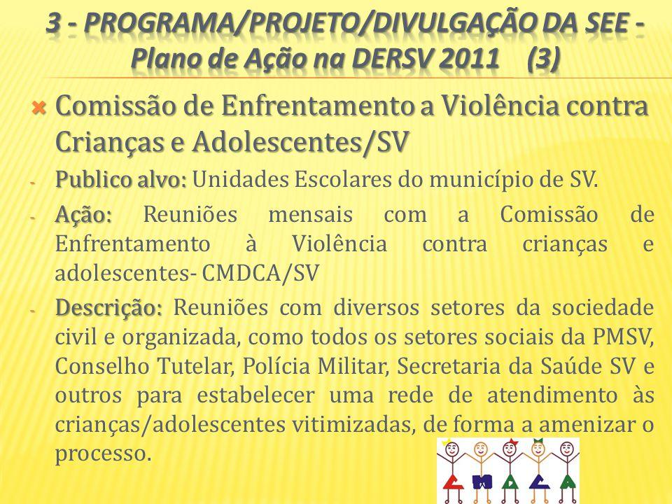 Comissão de Enfrentamento a Violência contra Crianças e Adolescentes/SV Comissão de Enfrentamento a Violência contra Crianças e Adolescentes/SV - Publico alvo: - Publico alvo: Unidades Escolares do município de SV.
