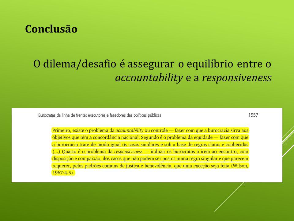 Conclusão O dilema/desafio é assegurar o equilíbrio entre o accountability e a responsiveness