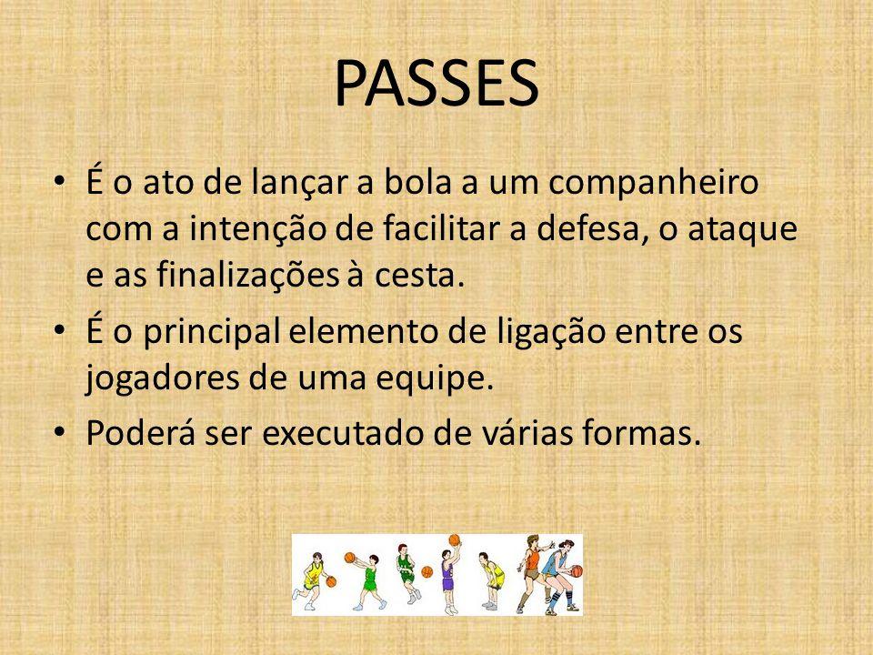 PASSES É o ato de lançar a bola a um companheiro com a intenção de facilitar a defesa, o ataque e as finalizações à cesta. É o principal elemento de l