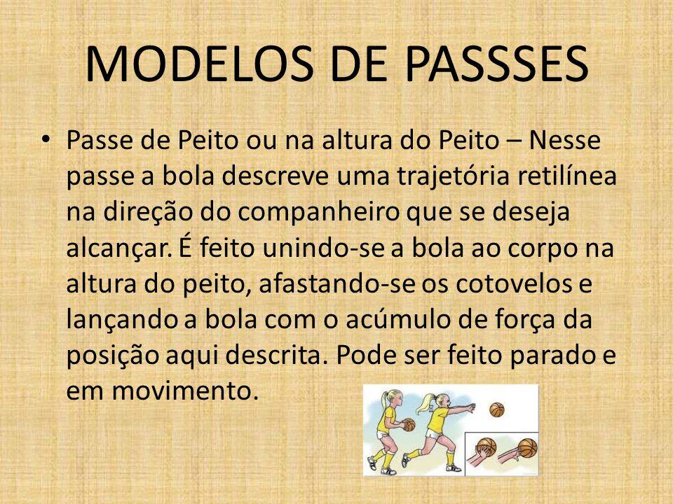 MODELOS DE PASSSES Passe Picado – Feito com o mesmo padrão do passe de peito, porém, a finalização do passe se dá primeiro com a bola sendo lançada ao chão e depois chegando ao companheiro.