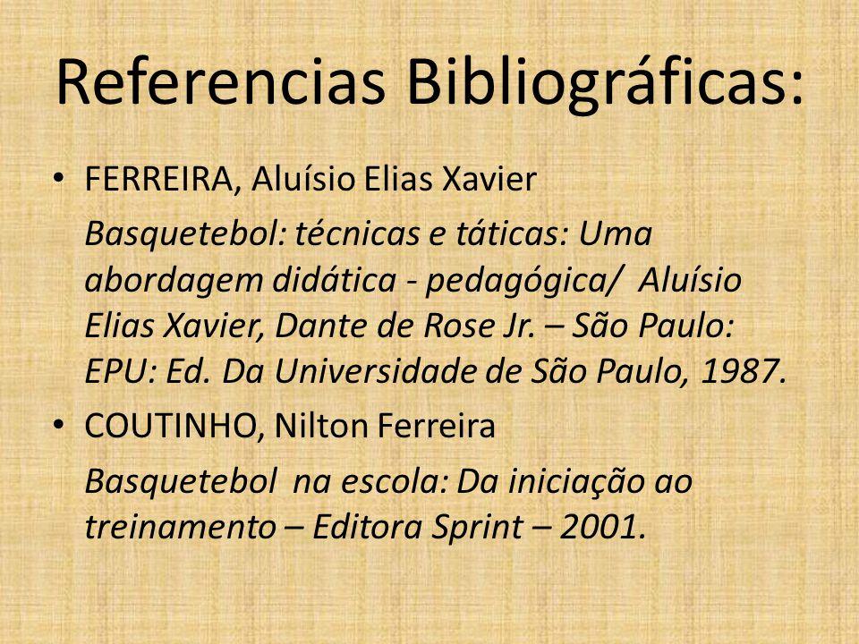Referencias Bibliográficas: FERREIRA, Aluísio Elias Xavier Basquetebol: técnicas e táticas: Uma abordagem didática - pedagógica/ Aluísio Elias Xavier,