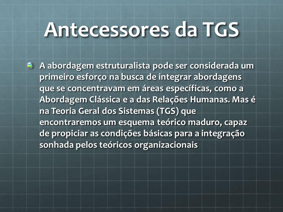 Antecessores da TGS A abordagem estruturalista pode ser considerada um primeiro esforço na busca de integrar abordagens que se concentravam em áreas e