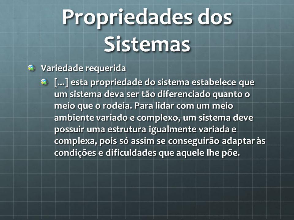 Propriedades dos Sistemas Variedade requerida [...] esta propriedade do sistema estabelece que um sistema deva ser tão diferenciado quanto o meio que