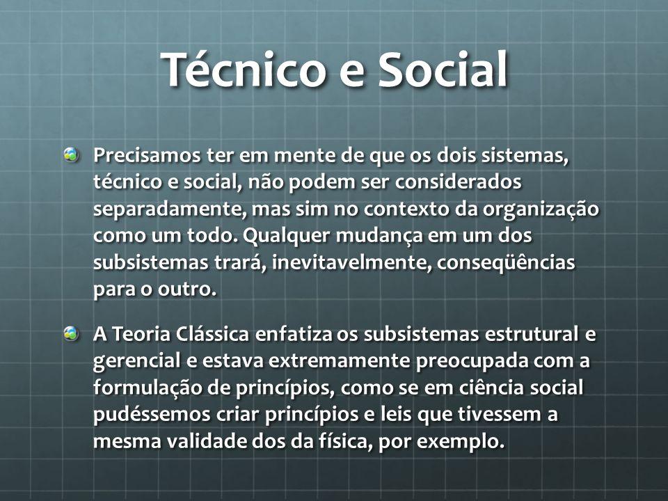 Técnico e Social Precisamos ter em mente de que os dois sistemas, técnico e social, não podem ser considerados separadamente, mas sim no contexto da o