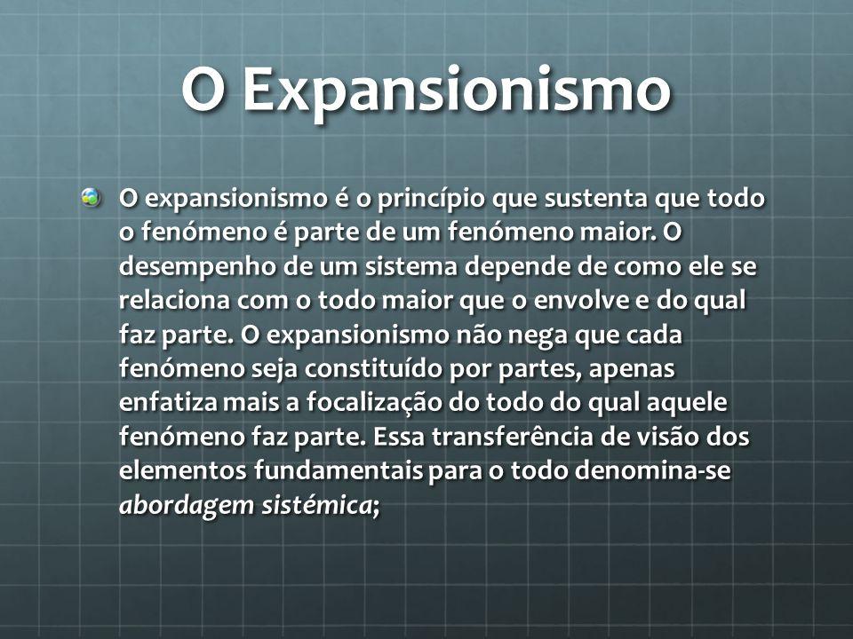 O Expansionismo O expansionismo é o princípio que sustenta que todo o fenómeno é parte de um fenómeno maior. O desempenho de um sistema depende de com