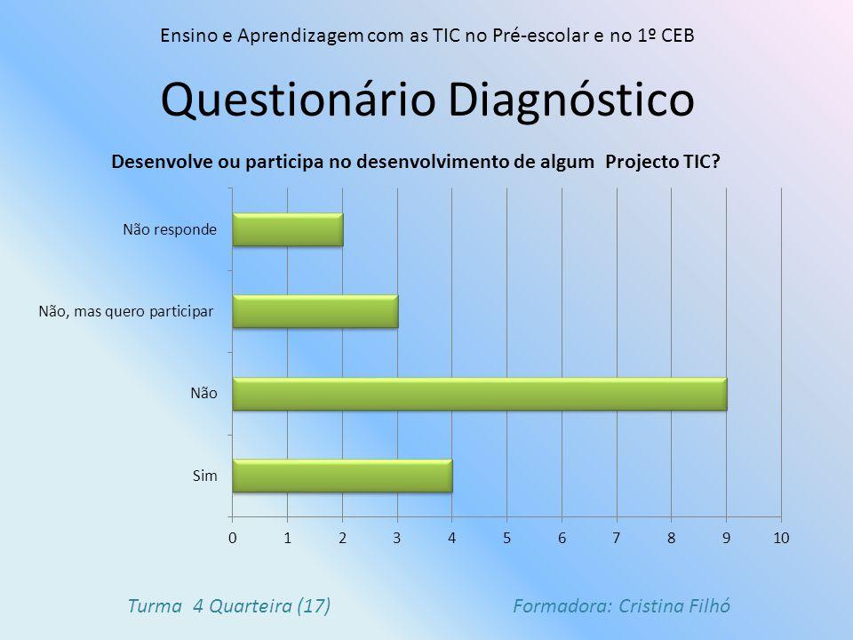 Questionário Diagnóstico Ensino e Aprendizagem com as TIC no Pré-escolar e no 1º CEB Turma 4 Quarteira (17) Formadora: Cristina Filhó