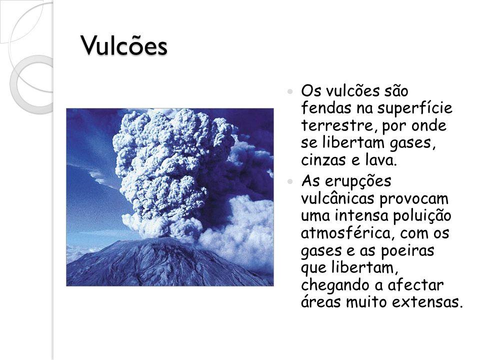 Vulcões Os vulcões são fendas na superfície terrestre, por onde se libertam gases, cinzas e lava. As erupções vulcânicas provocam uma intensa poluição