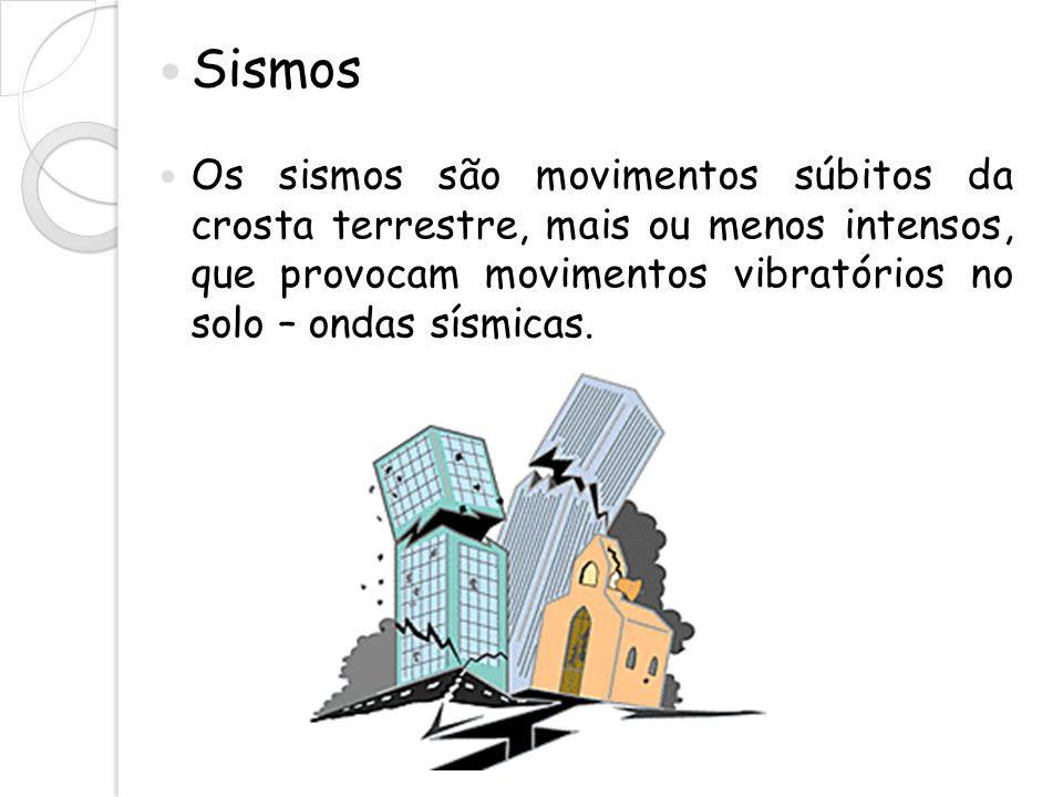 Sismos Os sismos são movimentos súbitos da crosta terrestre, mais ou menos intensos, que provocam movimentos vibratórios no solo – ondas sísmicas.
