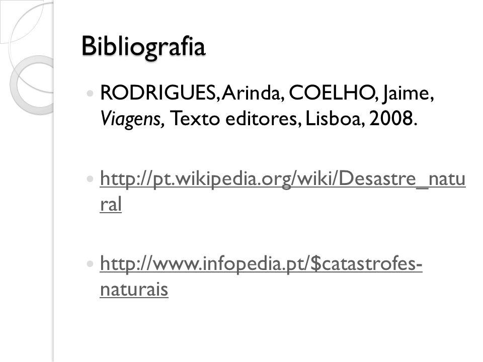 Bibliografia RODRIGUES, Arinda, COELHO, Jaime, Viagens, Texto editores, Lisboa, 2008. http://pt.wikipedia.org/wiki/Desastre_natu ral http://pt.wikiped