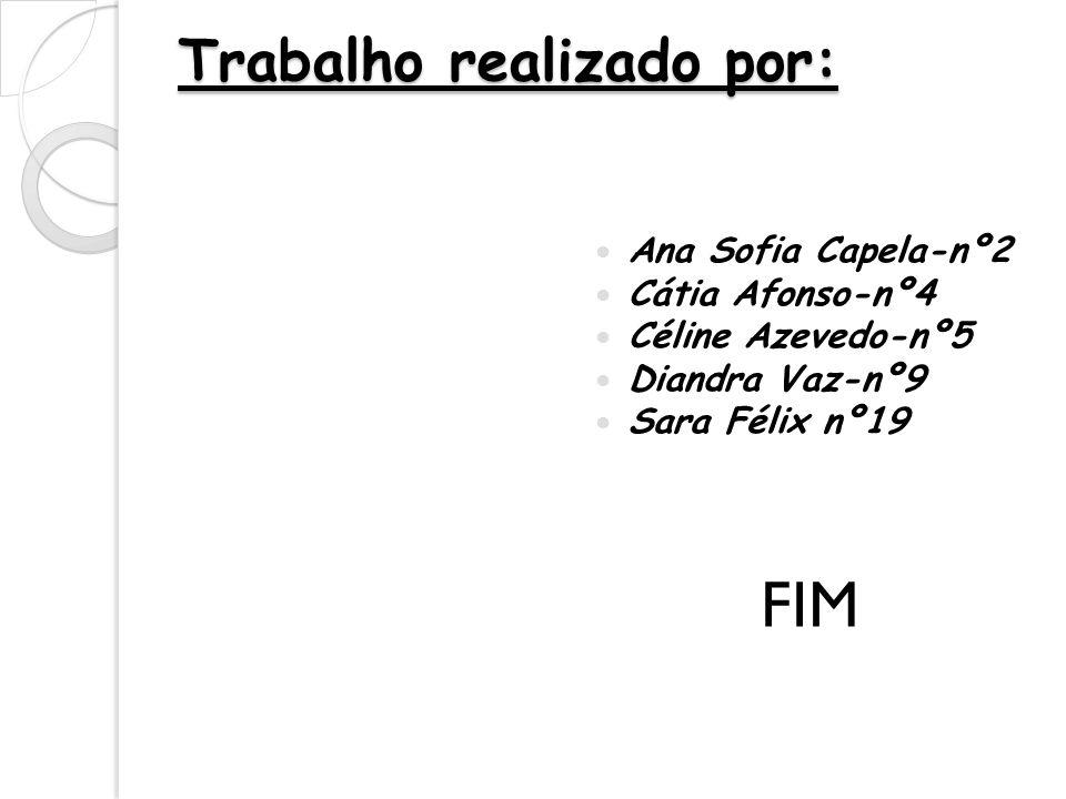 Trabalho realizado por: Ana Sofia Capela-nº2 Cátia Afonso-nº4 Céline Azevedo-nº5 Diandra Vaz-nº9 Sara Félix nº19 FIM