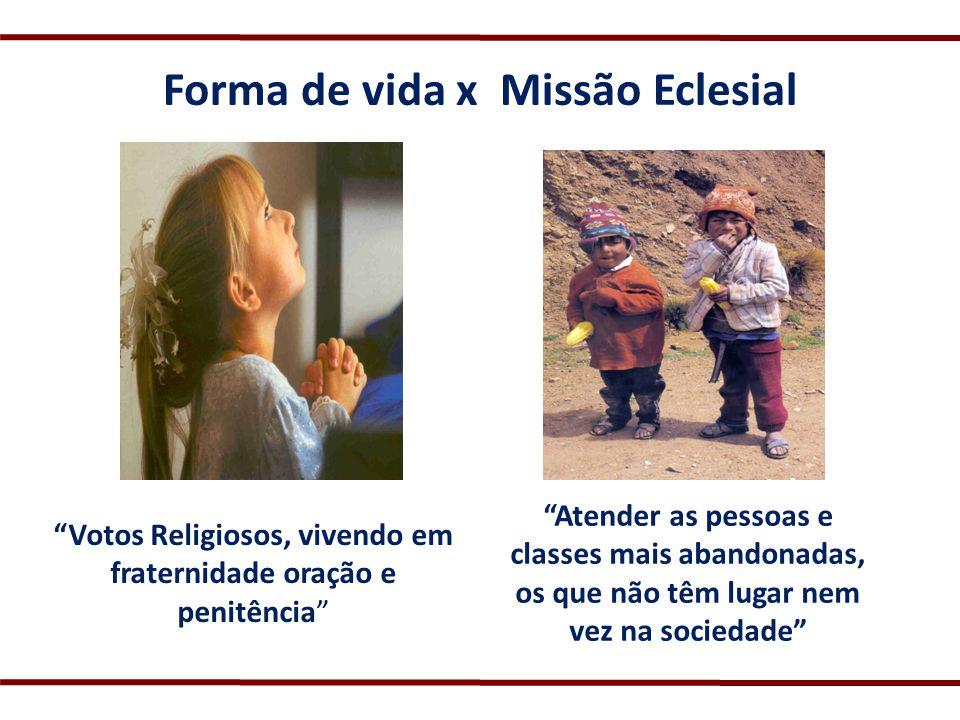 Forma de vida x Missão Eclesial Votos Religiosos, vivendo em fraternidade oração e penitência Atender as pessoas e classes mais abandonadas, os que nã