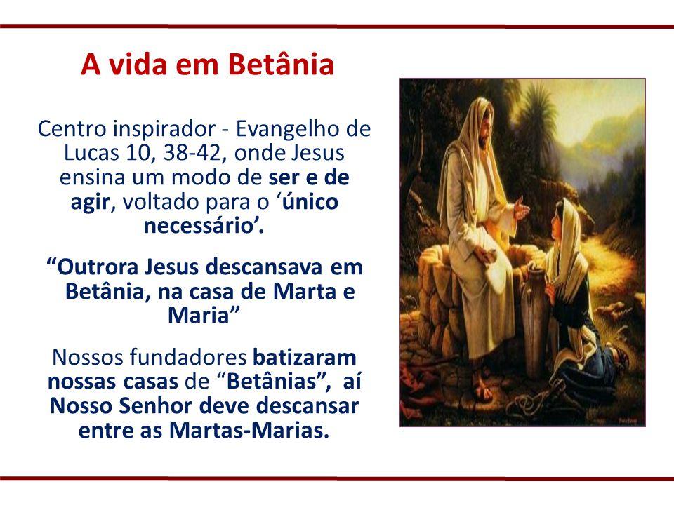 Centro inspirador - Evangelho de Lucas 10, 38-42, onde Jesus ensina um modo de ser e de agir, voltado para o único necessário. Outrora Jesus descansav