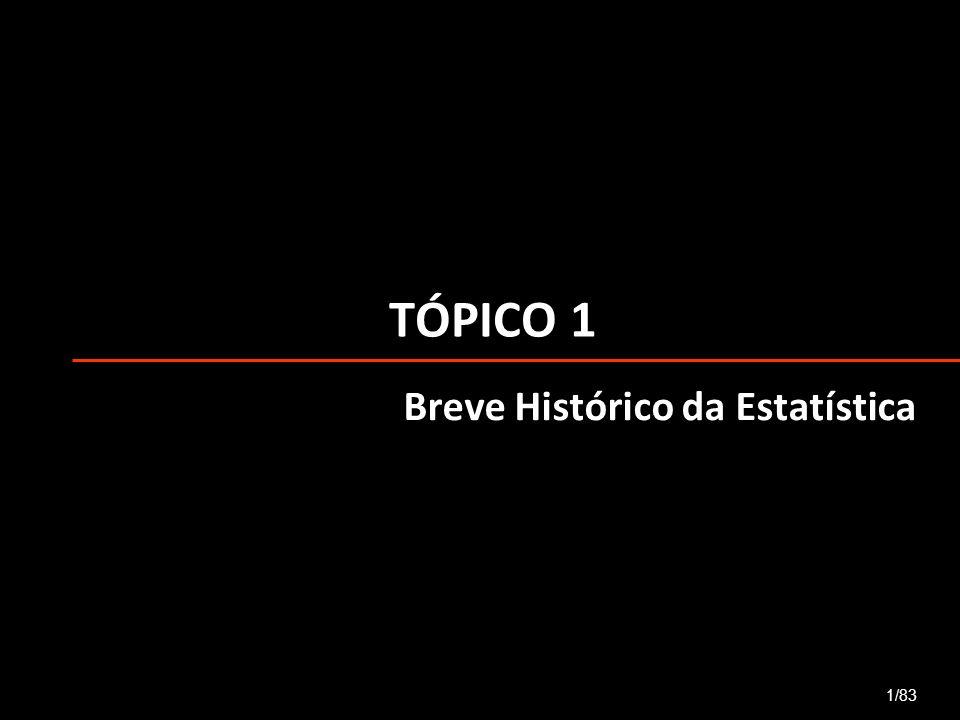 TÓPICO 1 1/83 Breve Histórico da Estatística
