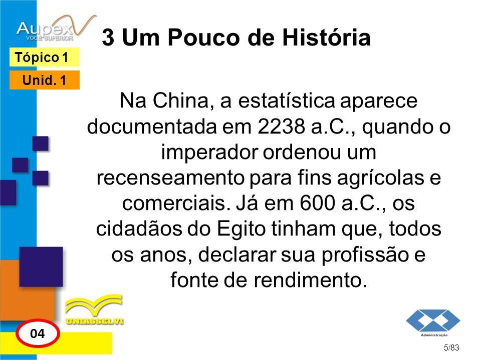 3 Um Pouco de História Na China, a estatística aparece documentada em 2238 a.C., quando o imperador ordenou um recenseamento para fins agrícolas e com
