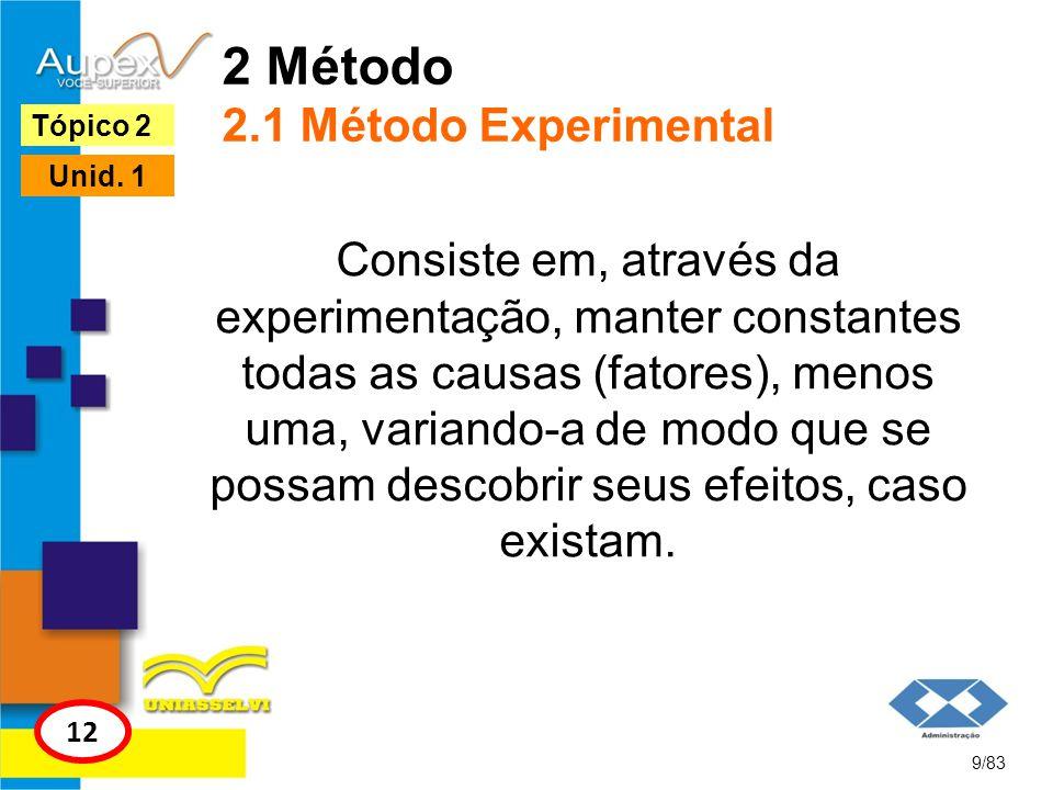 2 Método 2.1 Método Experimental Consiste em, através da experimentação, manter constantes todas as causas (fatores), menos uma, variando-a de modo qu