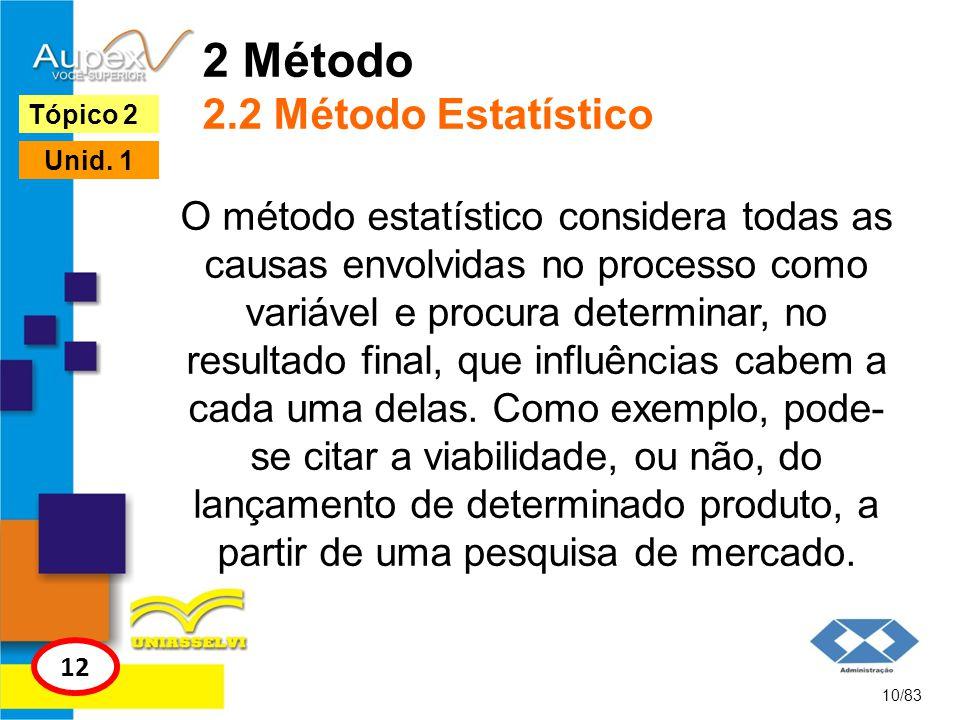 2 Método 2.2 Método Estatístico O método estatístico considera todas as causas envolvidas no processo como variável e procura determinar, no resultado