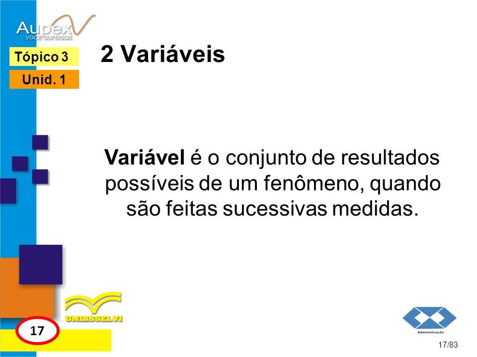 2 Variáveis Variável é o conjunto de resultados possíveis de um fenômeno, quando são feitas sucessivas medidas. 17/83 Tópico 3 17 Unid. 1