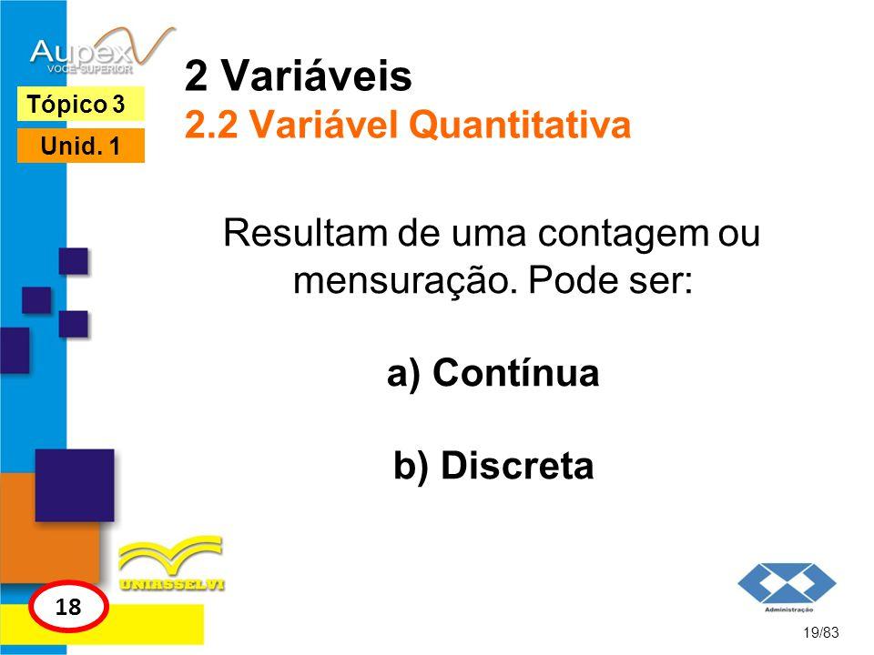 2 Variáveis 2.2 Variável Quantitativa Resultam de uma contagem ou mensuração. Pode ser: a) Contínua b) Discreta 19/83 Tópico 3 18 Unid. 1