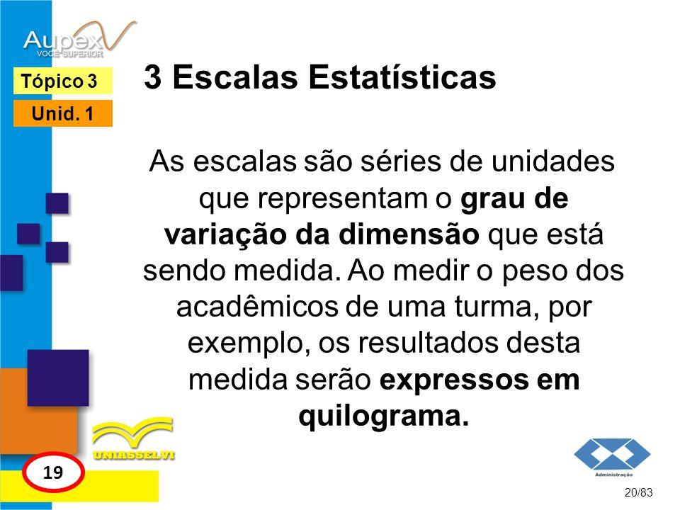 3 Escalas Estatísticas As escalas são séries de unidades que representam o grau de variação da dimensão que está sendo medida. Ao medir o peso dos aca