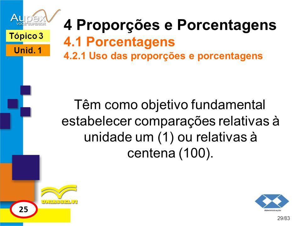 4 Proporções e Porcentagens 4.1 Porcentagens 4.2.1 Uso das proporções e porcentagens Têm como objetivo fundamental estabelecer comparações relativas à