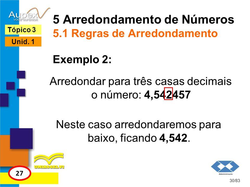 5 Arredondamento de Números 5.1 Regras de Arredondamento Arredondar para três casas decimais o número: 4,542457 30/83 Tópico 3 27 Unid. 1 Exemplo 2: N
