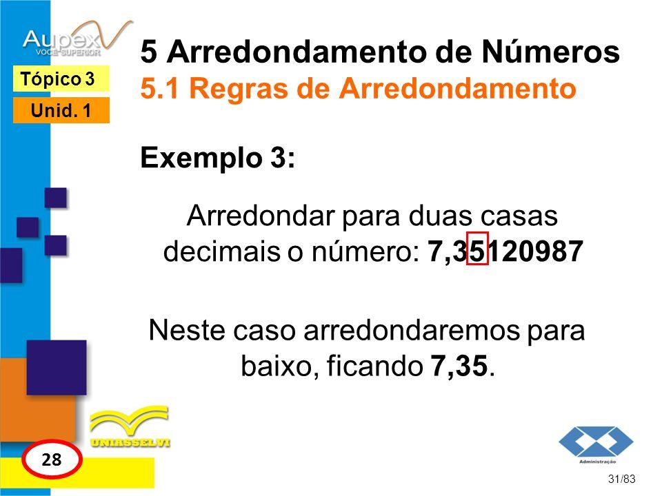 5 Arredondamento de Números 5.1 Regras de Arredondamento Arredondar para duas casas decimais o número: 7,35120987 31/83 Tópico 3 28 Unid. 1 Exemplo 3: