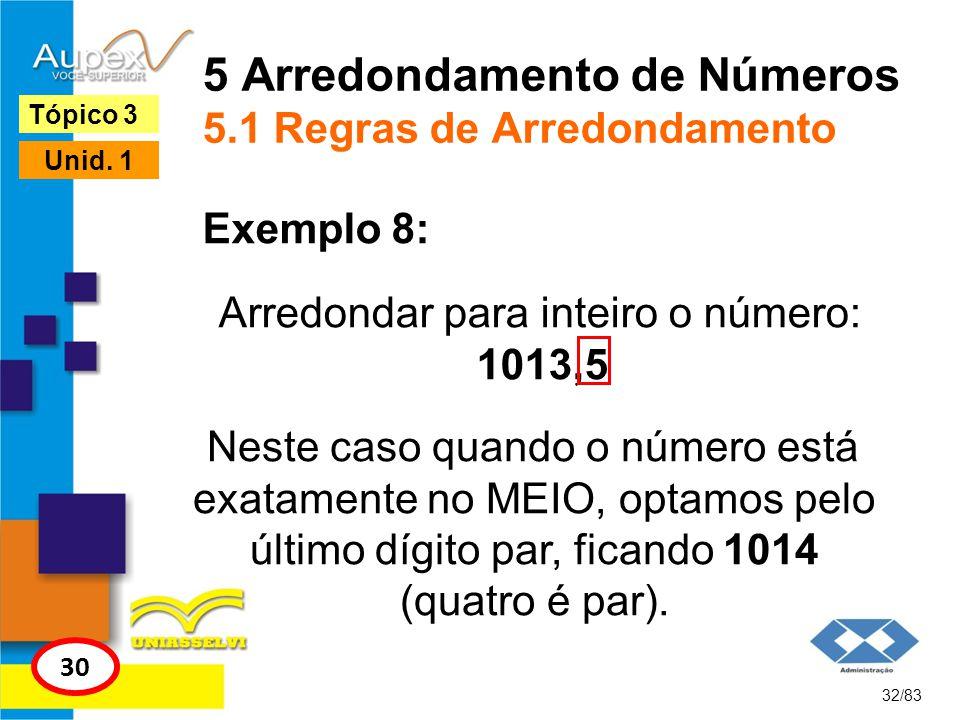5 Arredondamento de Números 5.1 Regras de Arredondamento Arredondar para inteiro o número: 1013,5 32/83 Tópico 3 30 Unid. 1 Exemplo 8: Neste caso quan