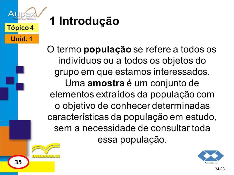 1 Introdução O termo população se refere a todos os indivíduos ou a todos os objetos do grupo em que estamos interessados. Uma amostra é um conjunto d