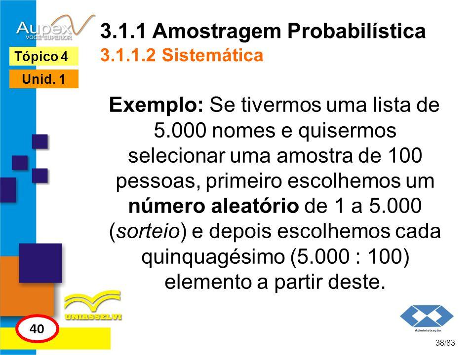 3.1.1 Amostragem Probabilística 3.1.1.2 Sistemática Exemplo: Se tivermos uma lista de 5.000 nomes e quisermos selecionar uma amostra de 100 pessoas, p