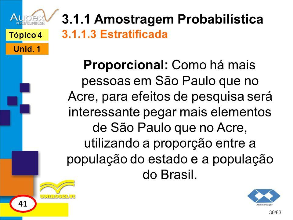 3.1.1 Amostragem Probabilística 3.1.1.3 Estratificada Proporcional: Como há mais pessoas em São Paulo que no Acre, para efeitos de pesquisa será inter
