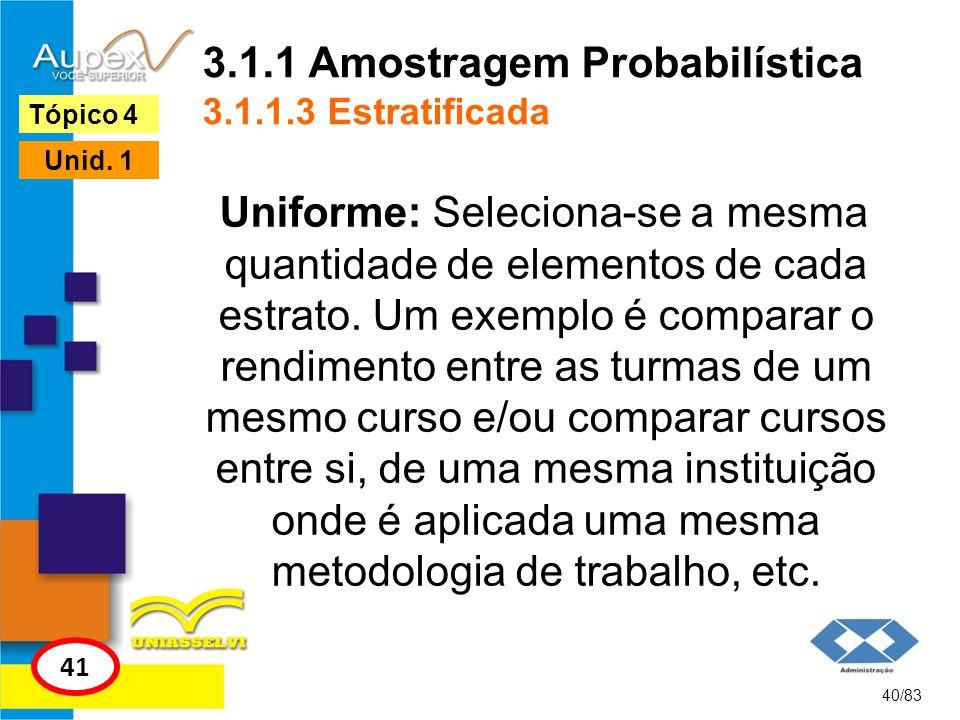 3.1.1 Amostragem Probabilística 3.1.1.3 Estratificada Uniforme: Seleciona-se a mesma quantidade de elementos de cada estrato. Um exemplo é comparar o