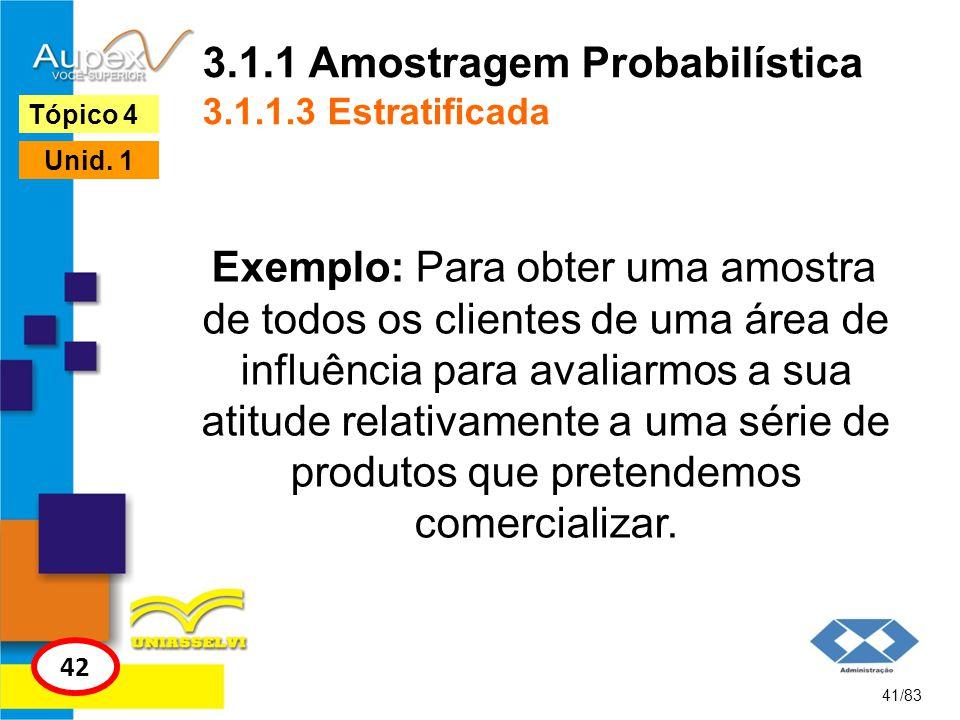 3.1.1 Amostragem Probabilística 3.1.1.3 Estratificada Exemplo: Para obter uma amostra de todos os clientes de uma área de influência para avaliarmos a