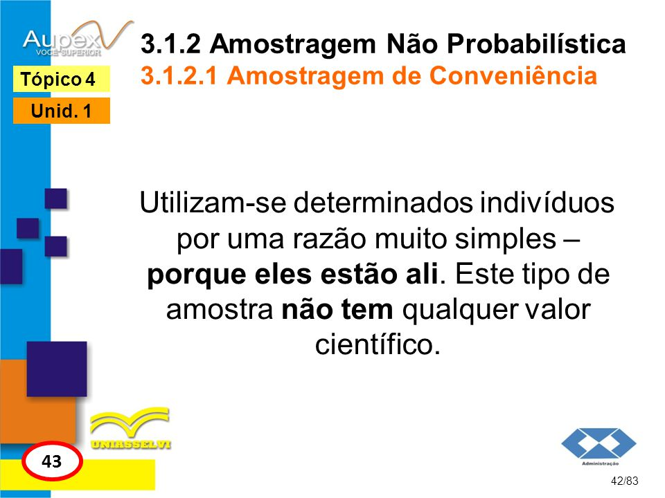 3.1.2 Amostragem Não Probabilística 3.1.2.1 Amostragem de Conveniência Utilizam-se determinados indivíduos por uma razão muito simples – porque eles e