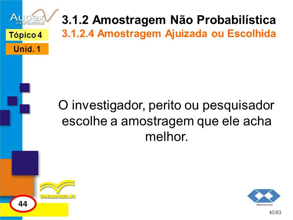 3.1.2 Amostragem Não Probabilística 3.1.2.4 Amostragem Ajuizada ou Escolhida O investigador, perito ou pesquisador escolhe a amostragem que ele acha m