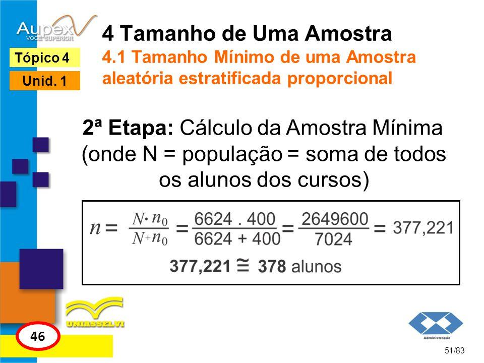 4 Tamanho de Uma Amostra 4.1 Tamanho Mínimo de uma Amostra aleatória estratificada proporcional 51/83 Tópico 4 46 Unid. 1 2ª Etapa: Cálculo da Amostra