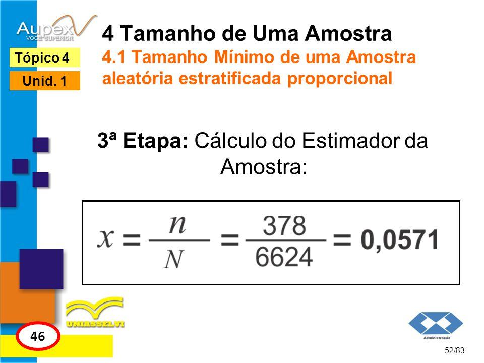 4 Tamanho de Uma Amostra 4.1 Tamanho Mínimo de uma Amostra aleatória estratificada proporcional 52/83 Tópico 4 46 Unid. 1 3ª Etapa: Cálculo do Estimad