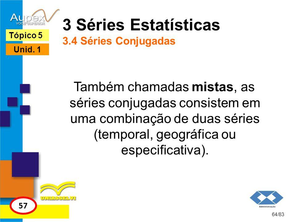 64/83 Tópico 5 57 Unid. 1 3 Séries Estatísticas 3.4 Séries Conjugadas Também chamadas mistas, as séries conjugadas consistem em uma combinação de duas