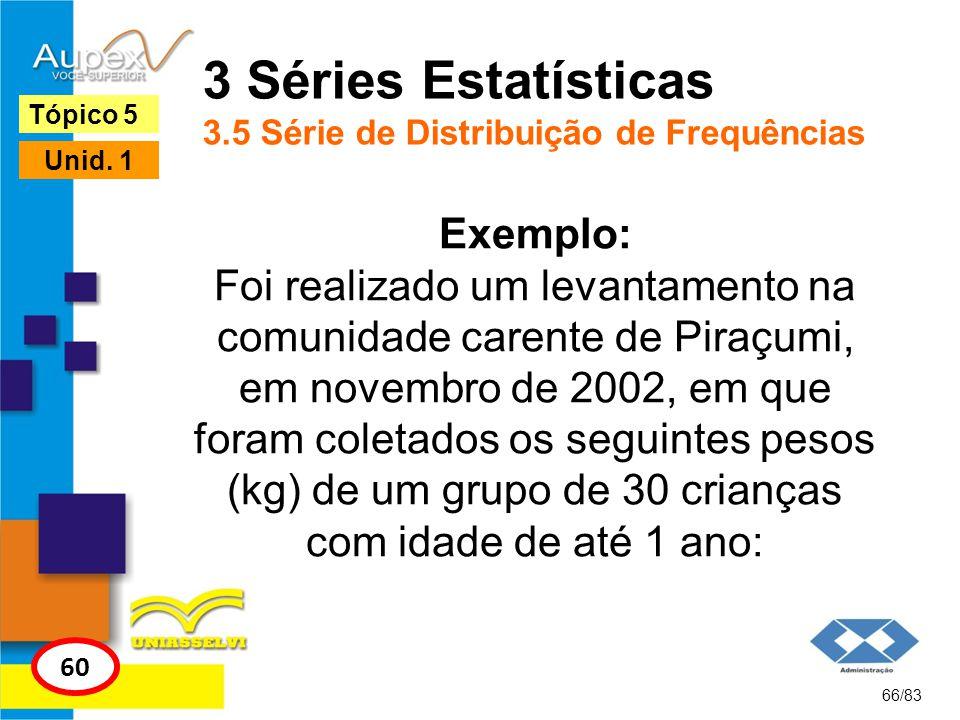 66/83 Tópico 5 60 Unid. 1 3 Séries Estatísticas 3.5 Série de Distribuição de Frequências Exemplo: Foi realizado um levantamento na comunidade carente