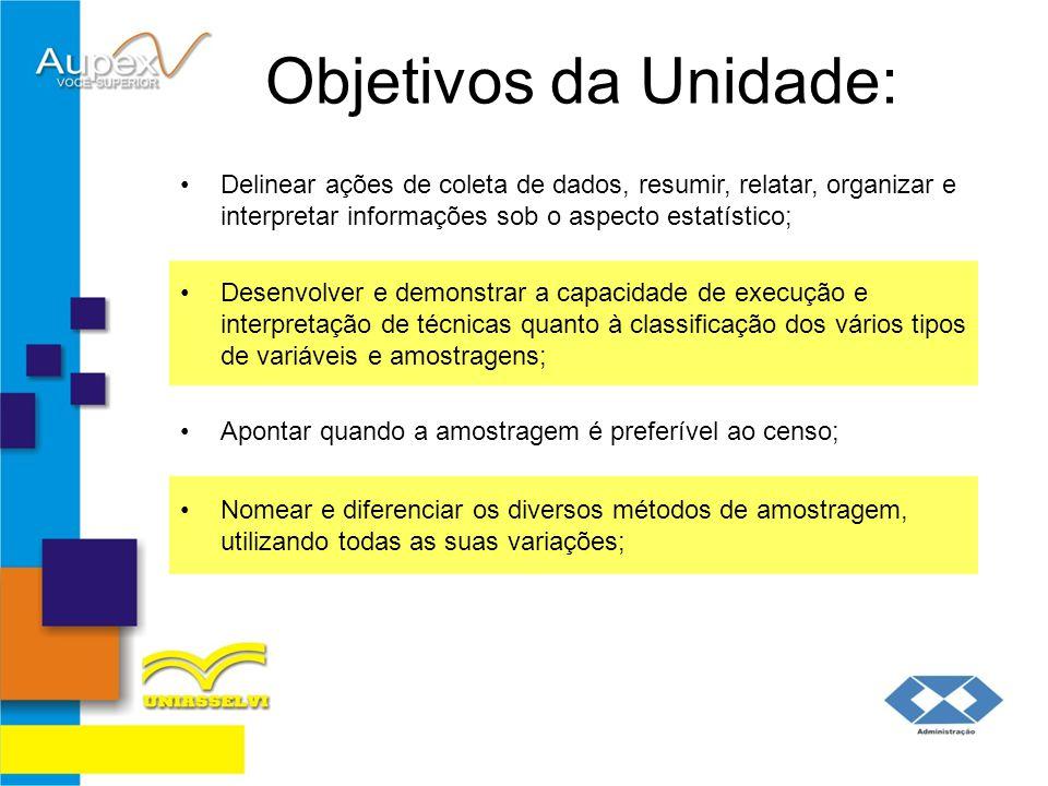 Objetivos da Unidade: Delinear ações de coleta de dados, resumir, relatar, organizar e interpretar informações sob o aspecto estatístico; Desenvolver