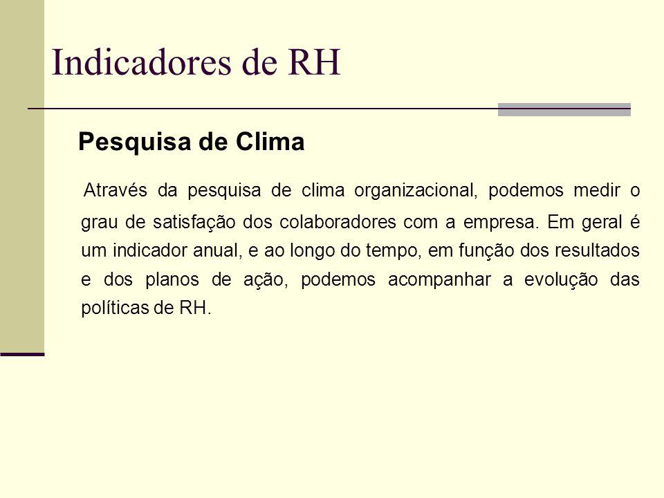 Indicadores de RH Pesquisa de Clima Através da pesquisa de clima organizacional, podemos medir o grau de satisfação dos colaboradores com a empresa. E