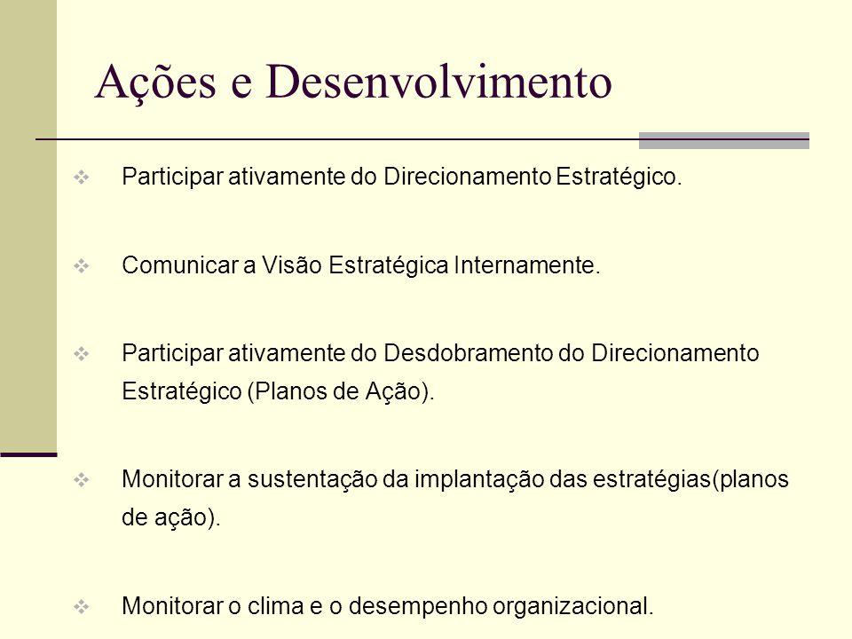 Ações e Desenvolvimento Participar ativamente do Direcionamento Estratégico. Comunicar a Visão Estratégica Internamente. Participar ativamente do Desd