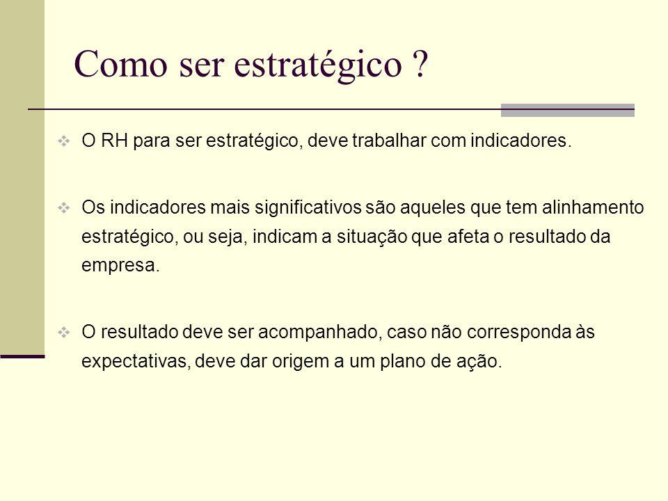 Como ser estratégico ? O RH para ser estratégico, deve trabalhar com indicadores. Os indicadores mais significativos são aqueles que tem alinhamento e