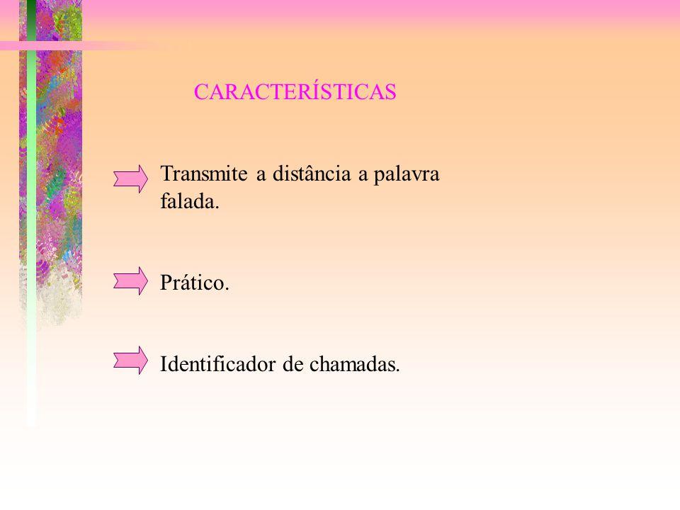 CARACTERÍSTICAS Transmite a distância a palavra falada. Prático. Identificador de chamadas.