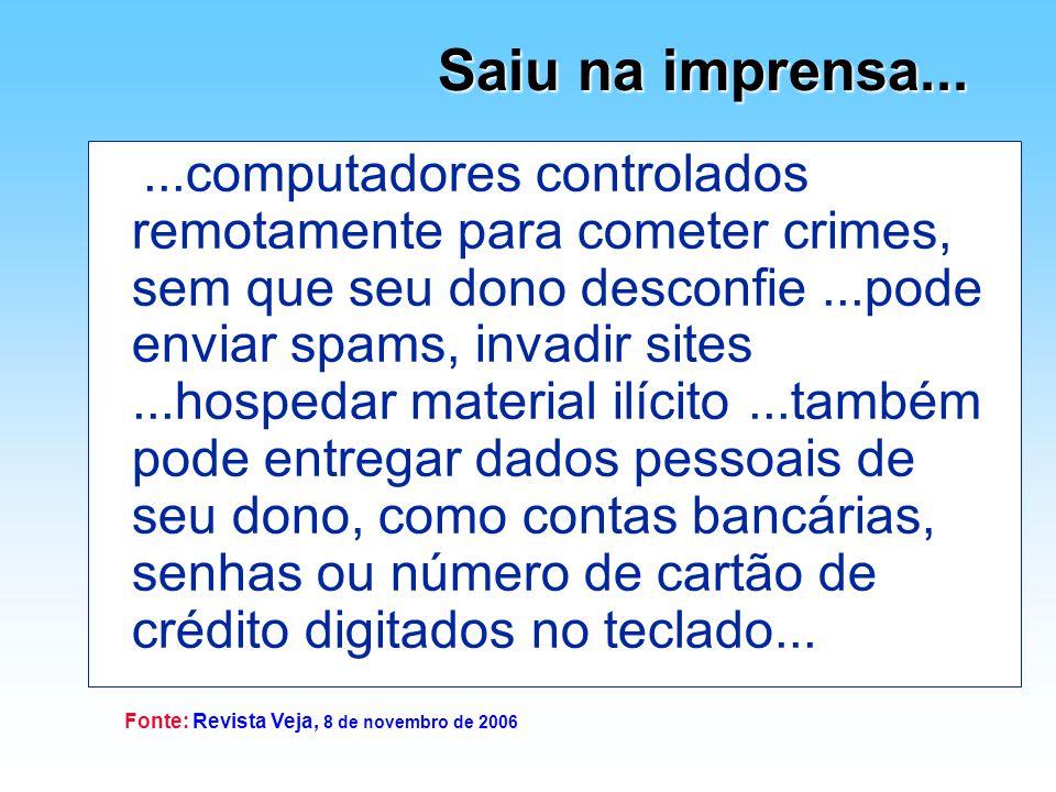 Saiu na imprensa... Fonte: Revista Veja, 8 de novembro de 2006...computadores controlados remotamente para cometer crimes, sem que seu dono desconfie.