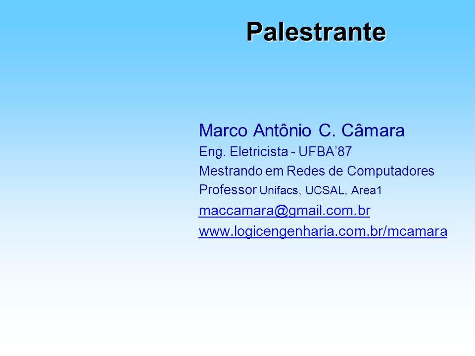 Palestrante Marco Antônio C. Câmara Eng. Eletricista - UFBA87 Mestrando em Redes de Computadores Professor Unifacs, UCSAL, Area1 maccamara@gmail.com.b