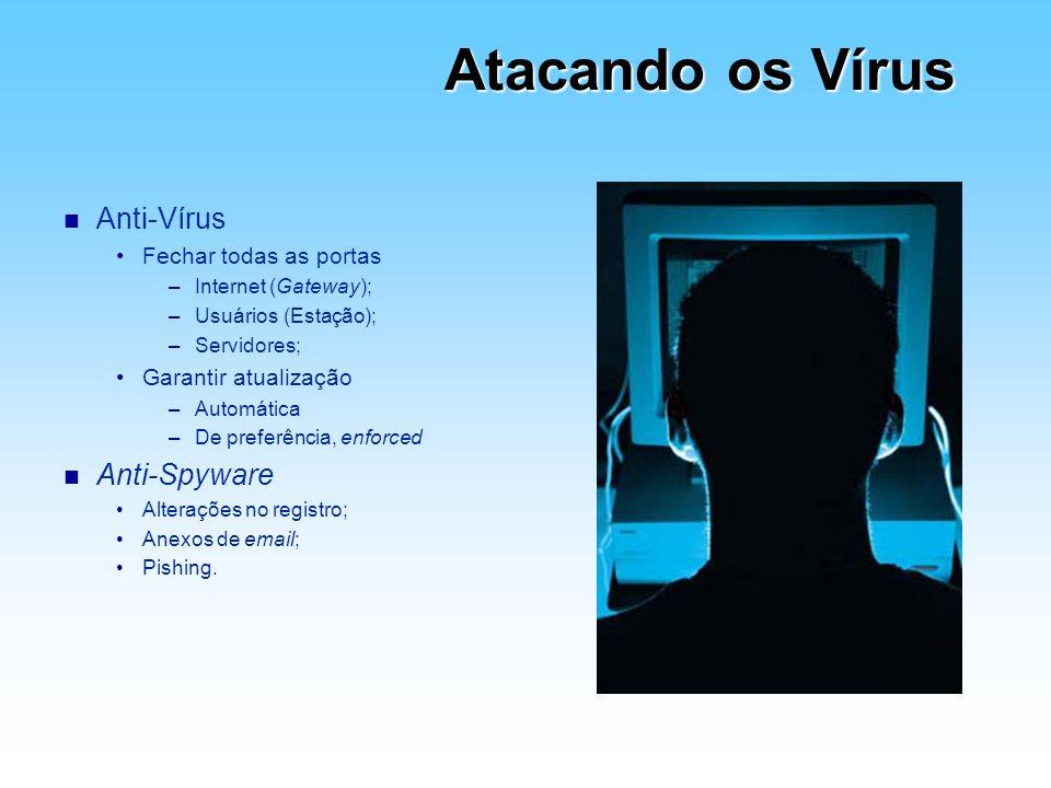 Atacando os Vírus n Anti-Vírus Fechar todas as portas –Internet (Gateway); –Usuários (Estação); –Servidores; Garantir atualização –Automática –De pref