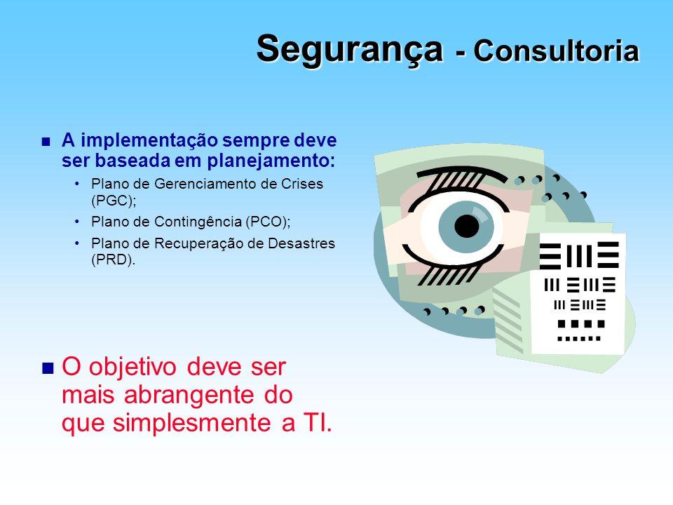 Segurança - Consultoria n A implementação sempre deve ser baseada em planejamento: Plano de Gerenciamento de Crises (PGC); Plano de Contingência (PCO)