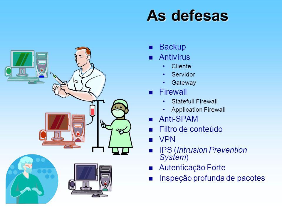 As defesas n Backup n Antivírus Cliente Servidor Gateway n Firewall Statefull Firewall Application Firewall n Anti-SPAM n Filtro de conteúdo n VPN n I