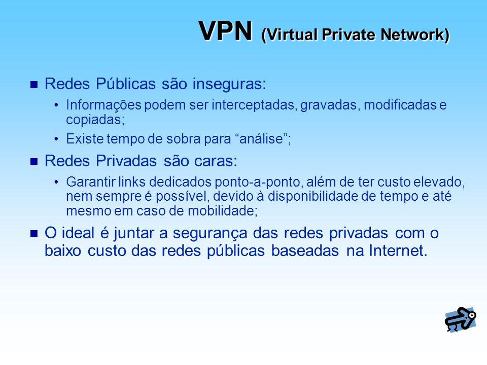 VPN (Virtual Private Network) n Redes Públicas são inseguras: Informações podem ser interceptadas, gravadas, modificadas e copiadas; Existe tempo de s