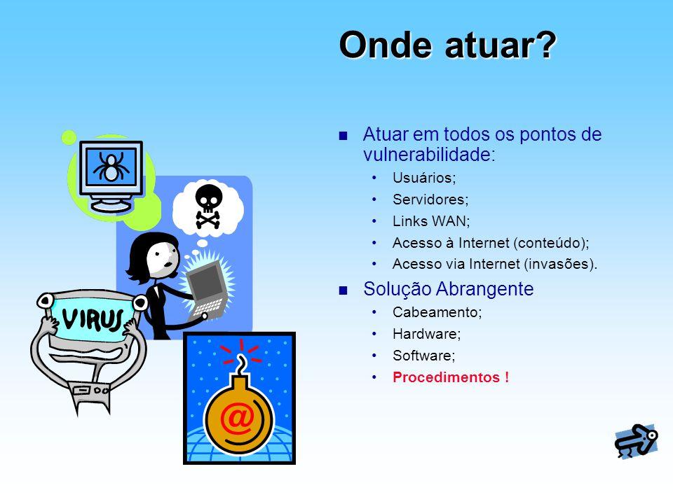 Onde atuar? n Atuar em todos os pontos de vulnerabilidade: Usuários; Servidores; Links WAN; Acesso à Internet (conteúdo); Acesso via Internet (invasõe